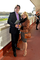JUSTIN MALLINSON and ELAINE PAIGE at the 2013 Hennessy Gold Cup at Newbury Racecourse, Berkshire on 30th November 2013.