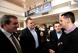Roman Volcic, Matej Avanzo and Anze Blazic of KZS talks to Martin Pavcnik of Siol Sportal at Eurobasket 2013 Candidate presentation of Slovenia at FIBA EUROPE Board on December 05, 2010 in Munich, Germany. The Board decided that Eurobasket 2013 will be held in Slovenia. (Photo By Vid Ponikvar / Sportida.com)