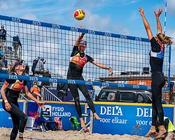 Sanne Keizer (L), Madelein Meppelink, Katja Stam in action. The Final Day of the DELA NK Beach volleyball for men and women will be played in The Hague Beach Stadium on the beach of Scheveningen on 23 July 2020 in Zaandam.
