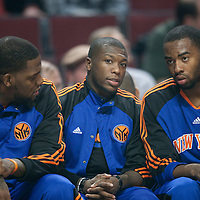 17 December 2009: New York Knicks Nate Robinson sits between Eddy Curry and Marcus Landry during the Chicago Bulls 98-89 victory over the New York Knicks at the United Center, in Chicago, Illinois, USA.