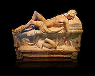 Etruscan funerary monument  known as  Adonis Dying, late 3rd century BC, made of terracotta and discovered near Tuscania, inv 14147, The Vatican Museums, Rome. Black Background. For use in non editorial advertising apply to the Vatican Museums for a license. .<br /> <br /> If you prefer to buy from our ALAMY PHOTO LIBRARY  Collection visit : https://www.alamy.com/portfolio/paul-williams-funkystock/vatican-museums-etruscan.html<br /> <br /> Visit our ETRUSCAN PHOTO COLLECTIONS for more photos to download or buy as wall art prints https://funkystock.photoshelter.com/gallery-collection/Pictures-Images-of-Etruscan-Historic-Sites-Art-Artefacts-Antiquities/C0000GgxRXWVMLyc