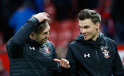 Southampton manager Ralph Hasenhuttl (left) reacts after the final whistle during the Premier League match at Old Trafford, Manchester.