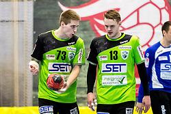 27.04.2018, BSFZ Suedstadt, Maria Enzersdorf, AUT, HLA, SG INSIGNIS Handball WESTWIEN vs Bregenz Handball, Viertelfinale, 1. Runde, im Bild Viggo Kristjansson (SG INSIGNIS Handball WESTWIEN), Olafur Bjarki Ragnarsson (SG INSIGNIS Handball WESTWIEN) // during Handball League Austria, quarterfinal, 1 st round match between SG INSIGNIS Handball WESTWIEN and Bregenz Handball at the BSFZ Suedstadt, Maria Enzersdorf, Austria on 2018/04/27, EXPA Pictures © 2018, PhotoCredit: EXPA/ Sebastian Pucher