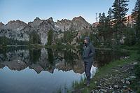 Adult male hiker at Alice Lake Sawtooth Mountains Idaho