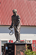Statue of fisherman Bojer Wikan standing in Bojer Wikan Fishermens Memorial Park in Petersburg, Mitkof Island, Alaska. Petersburg settled by Norwegian immigrant Peter Buschmann is known as Little Norway due to the high percentage of people of Scandinavian origin.