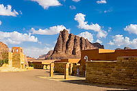 Jordan. Wadi Rum is also known as The Valley of the Moon. View from he visitor center. This mountain is called the Seven Pillars of Wisdom.