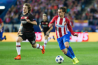 Tin Jedvaj of Bayer 04 Leverkusen competes for the ball with Antoine Griezmann of Atletico de Madrid during the match of Uefa Champions League between Atletico de Madrid and Bayer Leverkusen at Vicente Calderon Stadium  in Madrid, Spain. March 15, 2017. (ALTERPHOTOS / Rodrigo Jimenez)