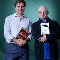 Richard Beard (left) & Timur Vermes, at the Edinburgh International Book Festival 2015. Edinburgh, Scotland. 23rd August 2015 <br /> <br /> Photograph by Gary Doak/Writer Pictures<br /> <br /> WORLD RIGHTS
