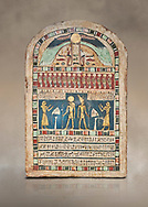 Ancient Egyptian stele dedicated to Ra-Harakhty & Atum by Psetjerfi, Late Period 26th Dynasty, (590-525 BC), Cat 1568. Egyptian Museum, Turin. <br /> <br /> Gifted by the Cairo Museum .<br /> <br /> If you prefer to buy from our ALAMY PHOTO LIBRARY  Collection visit : https://www.alamy.com/portfolio/paul-williams-funkystock/ancient-egyptian-art-artefacts.html  . Type -   Turin   - into the LOWER SEARCH WITHIN GALLERY box. Refine search by adding background colour, subject etc<br /> <br /> Visit our ANCIENT WORLD PHOTO COLLECTIONS for more photos to download or buy as wall art prints https://funkystock.photoshelter.com/gallery-collection/Ancient-World-Art-Antiquities-Historic-Sites-Pictures-Images-of/C00006u26yqSkDOM