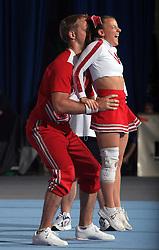Lene Hasvoldsaether & Martin Solberg, Norway during Partner stunt at second day of European Cheerleading Championship 2008, on July 6, 2008, in Arena Tivoli, Ljubljana, Slovenia. (Photo by Vid Ponikvar / Sportal Images).