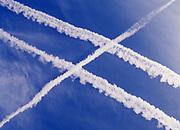 Jet contrails above the Great Salt Lake, Utah.