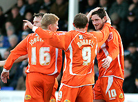 Photo: Tom Dulat/Sportsbeat Images.<br /> <br /> Colchester United v Blackpool. The FA Barclays Premiership. 29/12/2007. <br /> <br /> Blackpool's Scott Vernon (R) celebrates his opener together with Claus Jorgensen (16) and Andy Morrell (9).