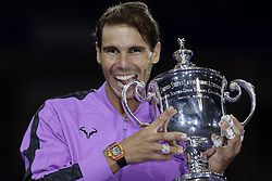 NEW YORK, Sept. 9, 2019  Rafael Nadal of Spain holds the trophy during the awarding ceremony after the men's singles final match between Rafael Nadal of Spain and Daniil Medvedev of Russia at the 2019 US Open in New York, the United States, Sept. 8, 2019. (Credit Image: © Li Muzi/Xinhua via ZUMA Wire)
