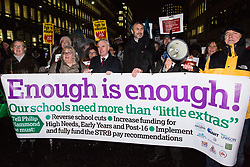 London, UK. 20th November, 2018. John McDonnell, Shadow Chancellor, and Kevin Courtney, Joint General Secretary of the National Education Union (NEU), join education staff, parents, governors, councillors, MPs and students taking part in the March for Education to protest against crises involving education funding, recruitment, staff retention and remuneration.