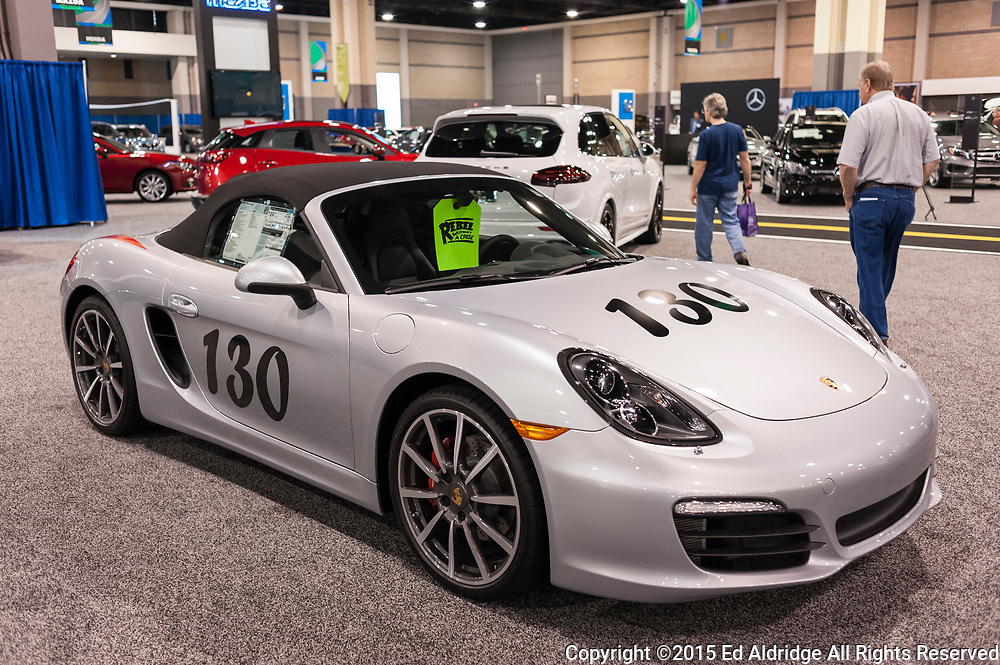 CHARLOTTE, NC, USA - November 11, 2015: Porsche Boxster S on display during the 2015 Charlotte International Auto Show at the Charlotte Convention Center in downtown Charlotte.