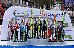 Second team of Norway, from L: ROMOEREN Bjoern Einar, EVENSEN Johan Remen, BARDAL Anders and JACOBSEN Anders, Winning team of Austria, from L: Gregor Schlierenzauer, Martin Koch, Thomas Morgenstern and Wolfgang Loitzl and  Third team of Finland, from L: OLLI Harri, HAUTAMAEKI Matti, MUOTKA Olli and HAPPONEN Janne during medal ceremony after Flying Hill Team Second Round at 4th day of FIS Ski Flying World Championships Planica 2010, on March 21, 2010, Planica, Slovenia.  (Photo by Vid Ponikvar / Sportida)