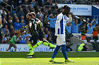 BRIGHTON, ENGLAND - MAY 12:  Ilkay Gundogan (8) of Manchester City celebrates after he scores a goal to make the score 1-4  during the Premier League match between Brighton & Hove Albion and Manchester City at American Express Community Stadium on May 12, 2019 in Brighton, United Kingdom. (MB Media)