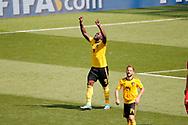 Romelu Lukaku of Belgium celebrates after scoring during the 2018 FIFA World Cup Russia, Group G football match between Belgium and Tunisia on June 23, 2018 at Spartak Stadium in Moscow, Russia - Photo Tarso Sarraf / FramePhoto / ProSportsImages / DPPI