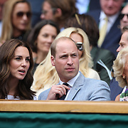 LONDON, ENGLAND - JULY 16: Catherine, Duchess of Cambridge and Prince William, Duke of Cambridge with Gill Brook at the Mens Singles Final between Roger Federer of Switzerland and Marin Cilic of Croatia during the Wimbledon Lawn Tennis Championships at the All England Lawn Tennis and Croquet Club at Wimbledon on July 16, 2017 in London, England. (Photo by Tim Clayton/Corbis via Getty Images)