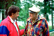 Man age 41 speaking with father in law age 87 at lake cabin.  Clitherall Minnesota USA