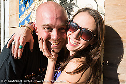 Sean and Nicole Clarke at the Old School bike show at Willie's Tropical Tattoo during Biketoberfest, Ormond Beach, FL, October 16, 2014, photographed by Michael Lichter. ©2014 Michael Lichter