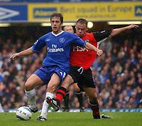 Photo. Daniel Hambury, Digitalsport<br /> Barclays Premiership.<br /> Chelsea v Blackburn Rovers. 23/10/2004.<br /> Chelsea's Cole and Blackburn Rovers' Dickov