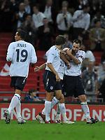 Photo: Tony Oudot/Richard Lane Photography.  England v Czech Republic. International match. 20/08/2008. <br /> England captain John Terry congratulates Joe Cole on his late equaliser
