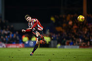 Sunderland Midfielder, Max Power (27) with a shot at goal during the EFL Sky Bet League 1 match between Portsmouth and Sunderland at Fratton Park, Portsmouth, England on 22 December 2018.