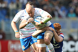 March 16, 2019 - Rome, RM, Italy - Sergio Parisse of Italy and Felix Lambey of France fight for the ball during the Six Nations International Rugby Union match between Italy and France at Stadio Olimpico on March 16, 2019 in Rome, Italy. (Credit Image: © Danilo Di Giovanni/NurPhoto via ZUMA Press)