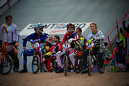 #971 (VALENTINO Manon) FRA, #11 (POST Alise) USA and #21 (REYNOLDS Lauren) AUS at the 2014 UCI BMX Supercross World Cup in Santiago Del Estero, Argentina.