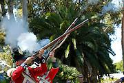 Men dressed in period military uniforms firing muzzle-loading flintlock rifles or muskets. Guildford, Western Australia