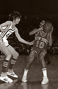 "Peter Press ""Pistol Pete"" Maravich (June 22, 1947  January 5, 1988) guards New York's Walt Frazier. Maravich was an American professional basketball player of Serbian descent. He was born in Aliquippa, Pennsylvania, part of the Pittsburgh metropolitan area and raised in the Carolinas. Maravich starred in college at Louisiana State University (LSU) and played for three NBA teams until injuries forced his retirement in 1980. He is still the all-time leading NCAA Division I scorer with 3,667 points scored and an average of 44.2 points per game. All of his accomplishments were achieved before the three-point line and shot clock were introduced to NCAA basketball and despite being unable to play varsity as a freshman under then-NCAA rules. One of the youngest players ever inducted into the Naismith Memorial Basketball Hall of Fame, Maravich was cited by the Hall as ""perhaps the greatest creative offensive talent in history"". In an April 2010 interview, Hall of Fame player John Havlicek said ""the best ball-handler of all time was Pete Maravich."""