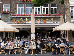 Busy cafes in Vrijthof square , The Netherlands