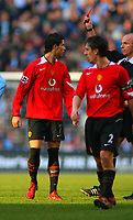 Cristiano Ronaldo is shown the Red Card by Referee S Bennett<br />Manchester United 2005/06<br />Manchester City V Manchester United<br />The Premier League<br />14/01/06<br />Photo Robin Parker Fotosports International