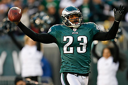 Philadelphia Eagles cornerback Dimitri Patterson #23 reacts after picking up a loose ball during the NFL game between the Denver Broncos and the Philadelphia Eagles on December 27th 2009. The ball was determined to be a dead ball. The Eagles won 30-27 at Lincoln Financial Field in Philadelphia, Pennsylvania. (Photo By Brian Garfinkel)