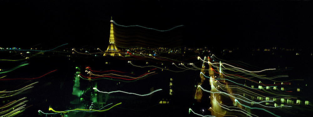 A Panoramic view of Paris at night showing the Eiffel Tower in Paris, France. 23rd July 2011. Photo Tim Clayton