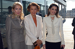 File photo - French heiress of the L'Oreal cosmetics empire Liliane Bettencourt (C)seen with Begum Inaara Aga Khan (L) and Queen Rania of Jordan, in a file photo dated September 2002, in Paris, France. Liliane Bettencourt has died aged 94 it was announced on September 21, 2017. Bettencourt was the richest person in France and the third-richest woman in the world with a net worth of $40 billion. She was the sole heir to L'Oreal, the largest cosmetics company in the world, which was started by her father, and a large shareholder in Nestle. Nearly a decade ago a trial forced Liliane's personal business into the public light, laid bare her obsession with a flashy homosexual photographer whom she turned into a billionaire, destroyed her relationship with her daughter, turned a long time family butler against her, and, finally, turned the dowager heiress into even more of a recluse than she had been before. Photo by Balkis Press/ABACAPRESS.COM
