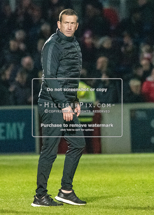 DOVER, UK - DECEMBER 29: Justin Edinburgh, Manager of Leyton Orient during the Vanarama National League match between Dover Athletic and Leyton Orient at the Crabble Stadium on December 29, 2018 in Dover, UK. (Photo by Jon Hilliger)