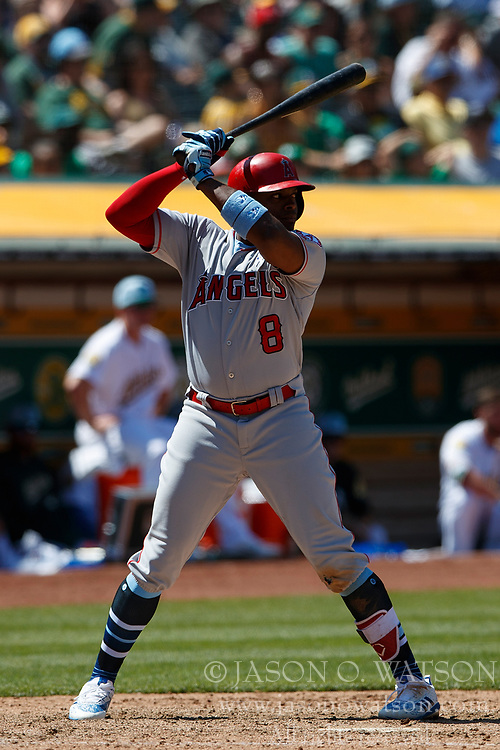 OAKLAND, CA - JUNE 17: Justin Upton #8 of the Los Angeles Angels of Anaheim at bat against the Oakland Athletics during the ninth inning at the Oakland Coliseum on June 17, 2018 in Oakland, California. The Oakland Athletics defeated the Los Angeles Angels of Anaheim 6-5 in 11 innings. (Photo by Jason O. Watson/Getty Images) *** Local Caption *** Justin Upton