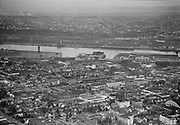 """Ackroyd 01907-4. """"aerials of northwest business district including Broadway and Burnside bridges. December 14, 1949"""" (NW Portland, Pearl District, Old Town)"""