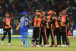 April 29, 2018 - Jaipur, Rajasthan, India - Sunrisers  Hyderabad team player celebrate their victory during the IPL T20 match against Rajasthan Royals at Sawai Mansingh Stadium in Jaipur on 29th April,2018. (Credit Image: © Vishal Bhatnagar/NurPhoto via ZUMA Press)