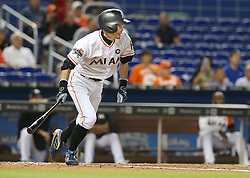 May 31, 2017 - Miami, FL, USA - The Miami Marlins' Ichiro Suzuki hits a single in the fourth inning against the Philadelphia Phillies on Wednesday, May 31, 2017 at Marlins Park in Little Havana in Miami. The Marlins won, 10-2. (Credit Image: © Pedro Portal/TNS via ZUMA Wire)