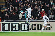 Leroy Fer of Swansea City celebrates his teams third goal, 3-1, during the Premier League match between Swansea City and Crystal Palace at the Liberty Stadium, Swansea, Wales on 26 November 2016. Photo by Andrew Lewis.