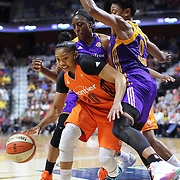 UNCASVILLE, CONNECTICUT- JULY 15:  Alex Bentley #20 of the Connecticut Sun is defended by Nneka Ogwumike #30 of the Los Angeles Sparks and Alana Beard #0 of the Los Angeles Sparks during the Los Angeles Sparks Vs Connecticut Sun, WNBA regular season game at Mohegan Sun Arena on July 15, 2016 in Uncasville, Connecticut. (Photo by Tim Clayton/Corbis via Getty Images)