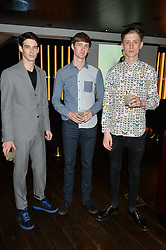 Left to right, IAN SHARP, BRIAN BITCHER and CIERAN LLOYD at a party hosted by Christian Lacroix partnered with Supa Model Management to celebrate London Men's Collections January 2015, held at the Rumpus Room, the roof top bar at the top of the Mondrian London, 20 Upper Ground, London SE1 on 12th January 2015.