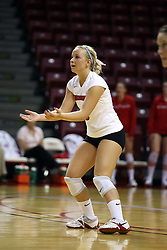 "11 October 2008: ""bring it on"" says Kasey Mollerus while waiting for a serve during a match between the Bulldogs of Drake University and the Redbirds of Illinois State University.  The Redbirds took the match against the Bulldogs 3 sets to none on Doug Collins Court inside Redbird Arena on the campus of Illinois State University in Normal Illinois."
