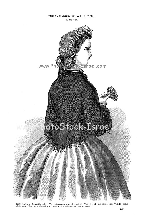 Zouave Jacket with vest Godey's Fashion for summer 1864 from Godey's Lady's Book and Magazine, June 1864, Philadelphia, Louis A. Godey, Sarah Josepha Hale,