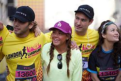 Eyal Booker, Michelle Heaton and Frankie Fuller during the 2019 London Landmarks Half Marathon.