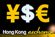HONG KONG, MAY 08: A currency exchange booth shows symbols of different currencies including the Hong Kong dollar and the Chinese yuan (RMB), on May 8, 2015, in Hong Kong. (Photo by Lucas Schifres/Pictobank)