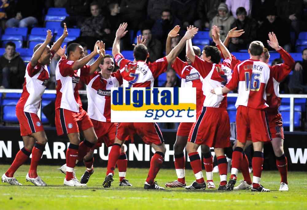 Photo: Paul Greenwood/Richard Lane Photography. Shrewbury Town v Wycombe Wanderers. Coca Cola Two. 20/12/2008. <br />Wycombe's players celebrate Matt Harrold's goal